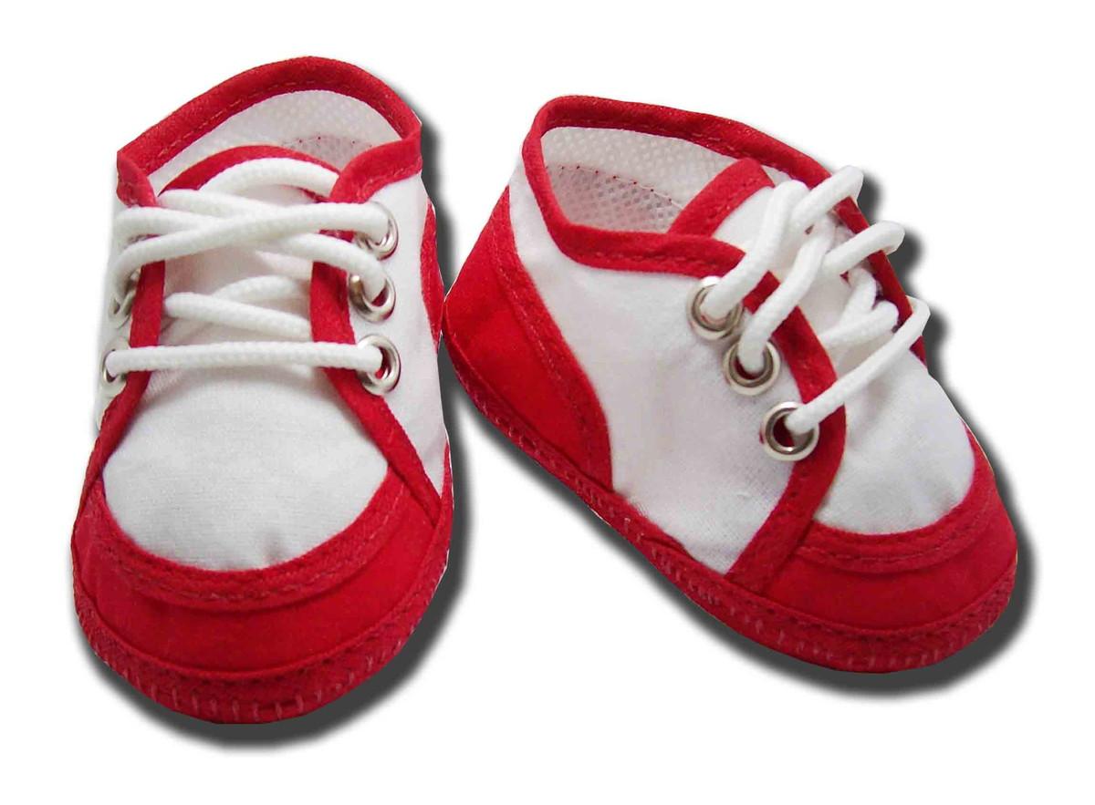 8f2d41123c Sapatinho de bebe Tênis Branco e Vermelho no Elo7