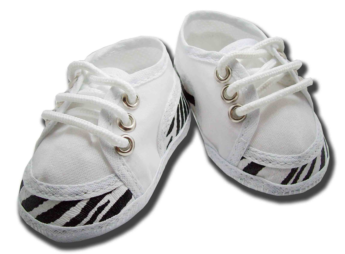 1d2fcdfd6d Sapatinho de bebe Tênis Branco e Preto Zebra no Elo7