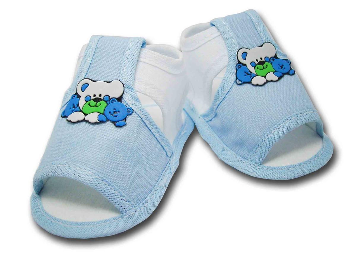 020f9ab06 Sapatinho de Bebê Sandália Branco e Azul Claro no Elo7   Charminho ...