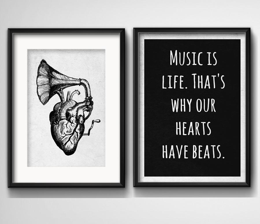 2 Quadros Coração Música Frase Preto Branco Com Paspatur
