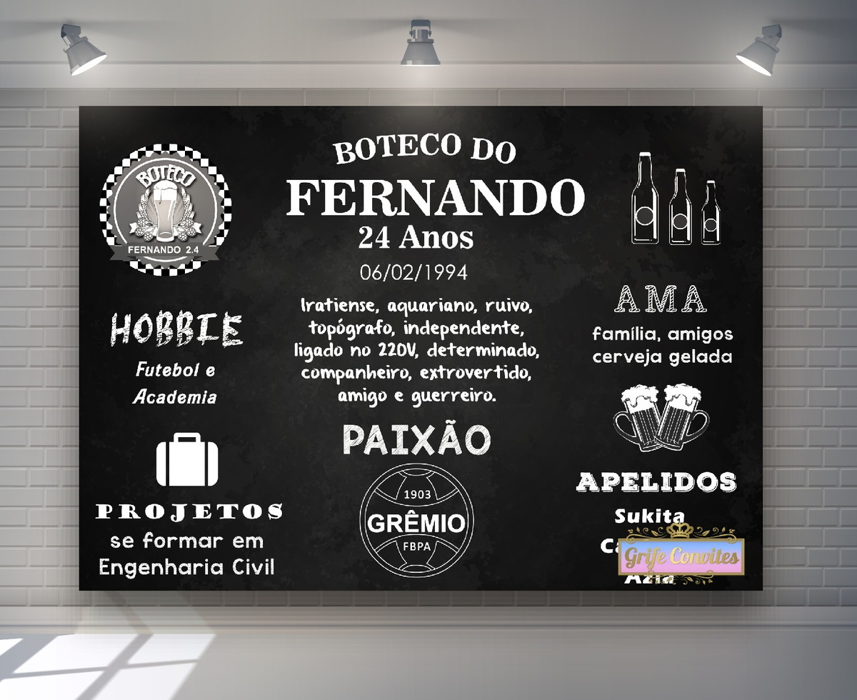 Painel Chalkboard Grêmio Digital no Elo7  ec050170518b6