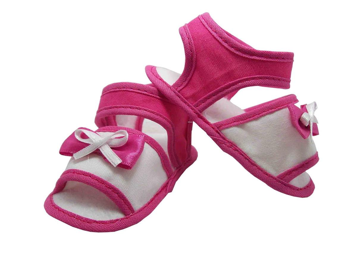 d9c7d1674 Sapatinho de Bebê Sandália Bebê Branca e Pink no Elo7