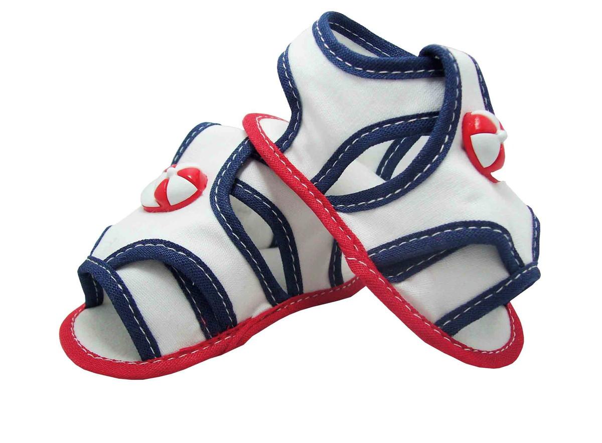 bfa4676de Sapatinho de Bebê Sandália Branca, Vermelha e Azul Marinho no Elo7 ...