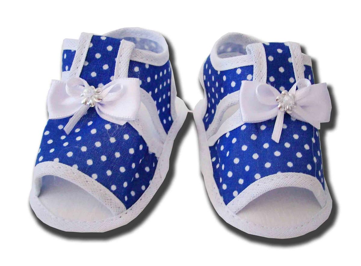 1b9cfa47d Sapatinho de Bebê Sandália Azul e Branco Poá no Elo7   Charminho ...