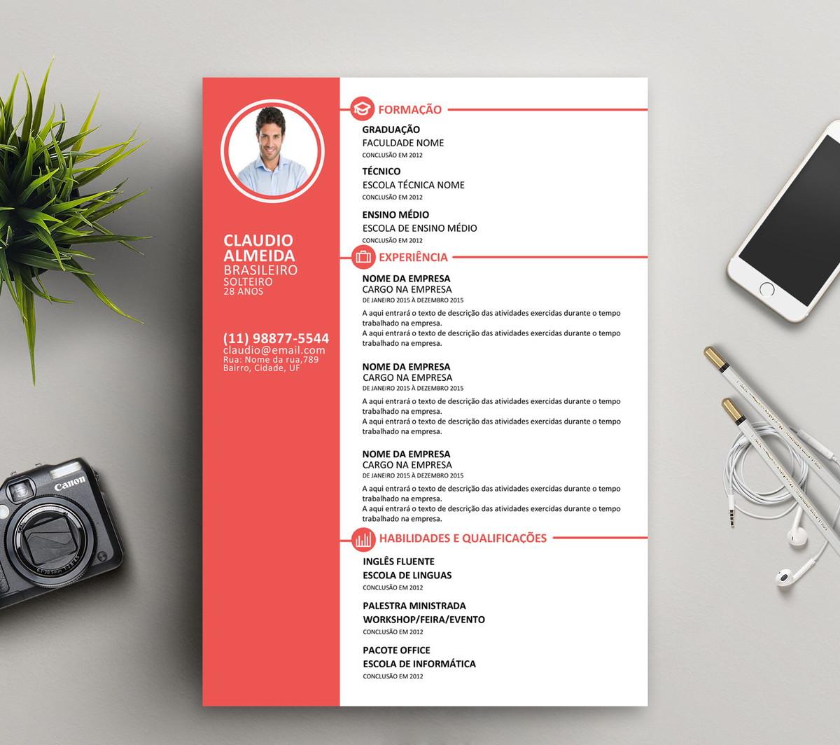 Currículo Criativo - Com opção de 2 páginas - (Cod. 04) no Elo7 ... ea5c0c8a18