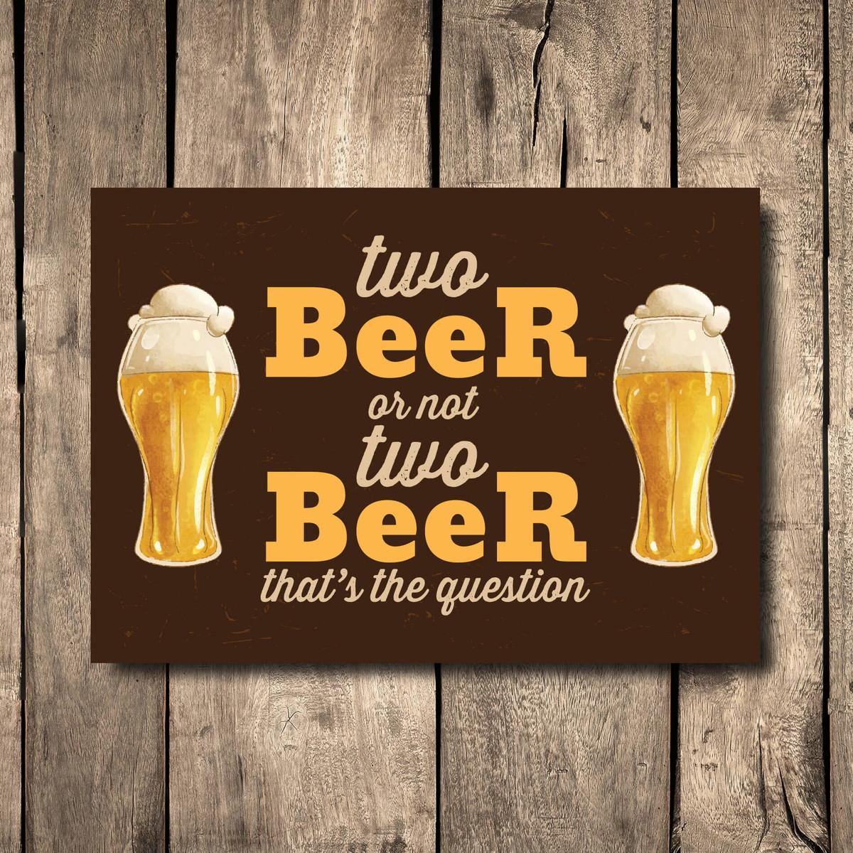 Placa Decorativa Mdf Frase Cerveja Two Beer 20x30 Cm No Elo7