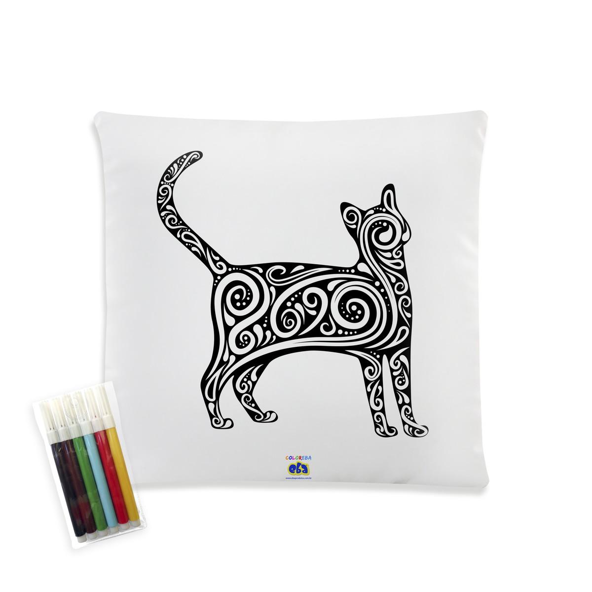 almofada gato para colorir com canetinhas 40x40cm gatinho no elo7