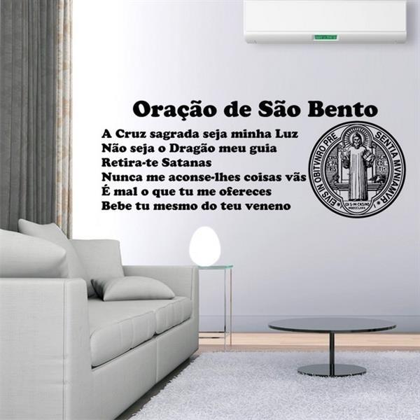 04603359e Adesivo de parede Frase Oração a São Bento-G 20x51cm no Elo7