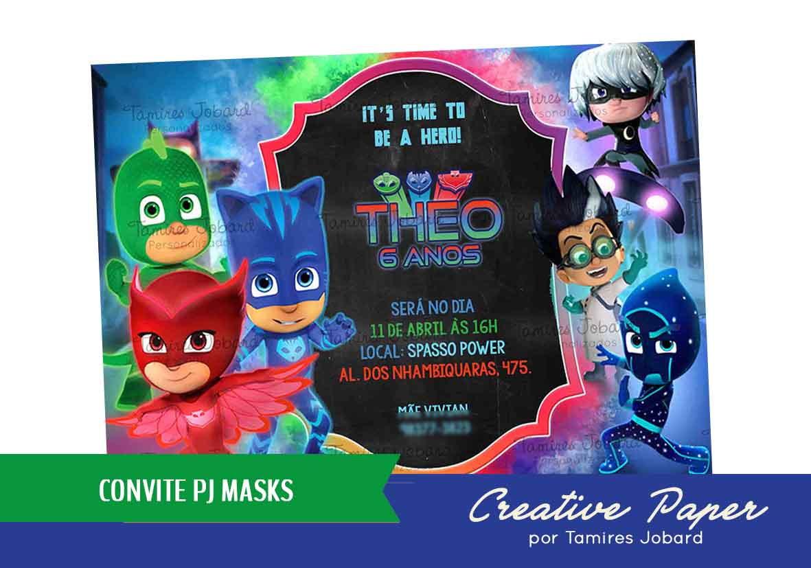 convite digital pj masks no elo7 creative paper por