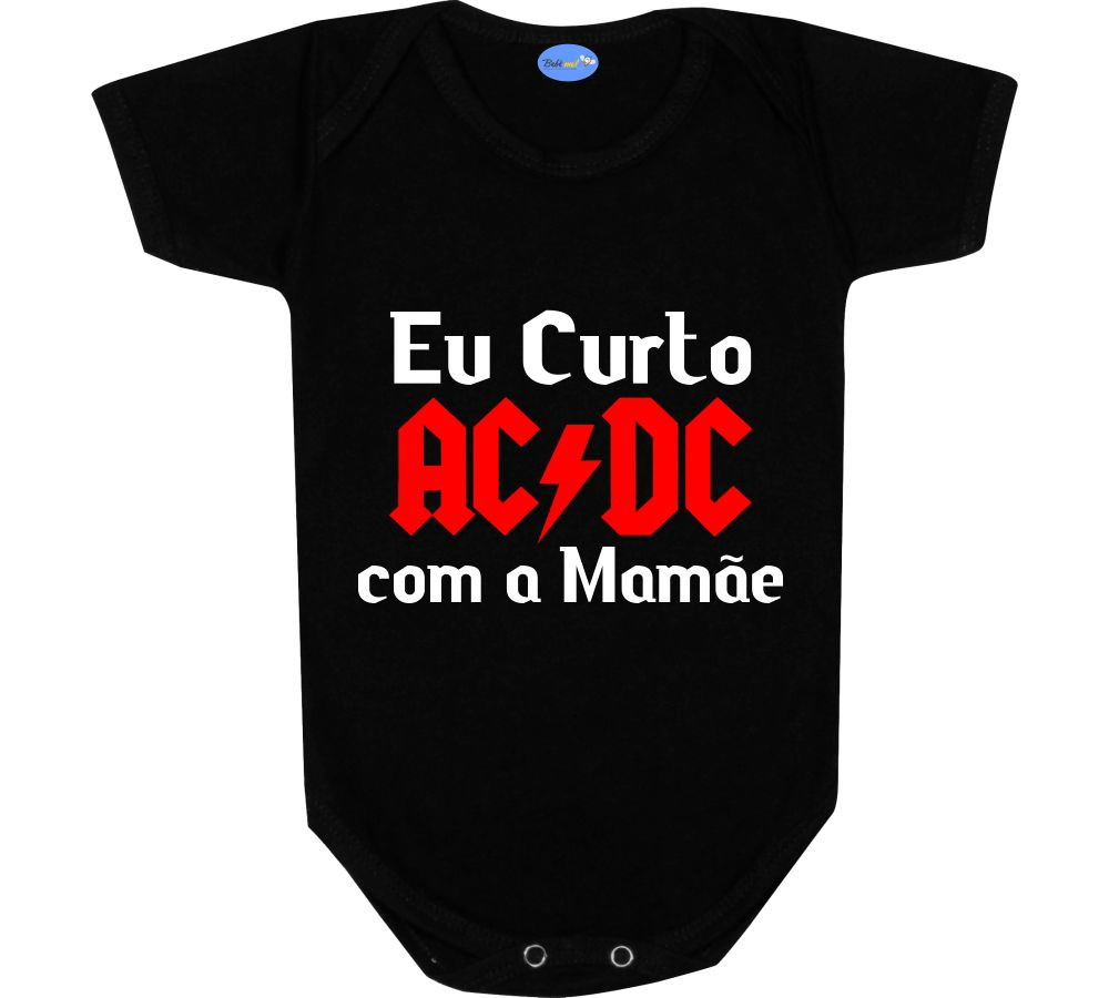 Body Bebê Bandas Rock Curto ACDC com a Mamãe no Elo7  7fc2c2a06e4