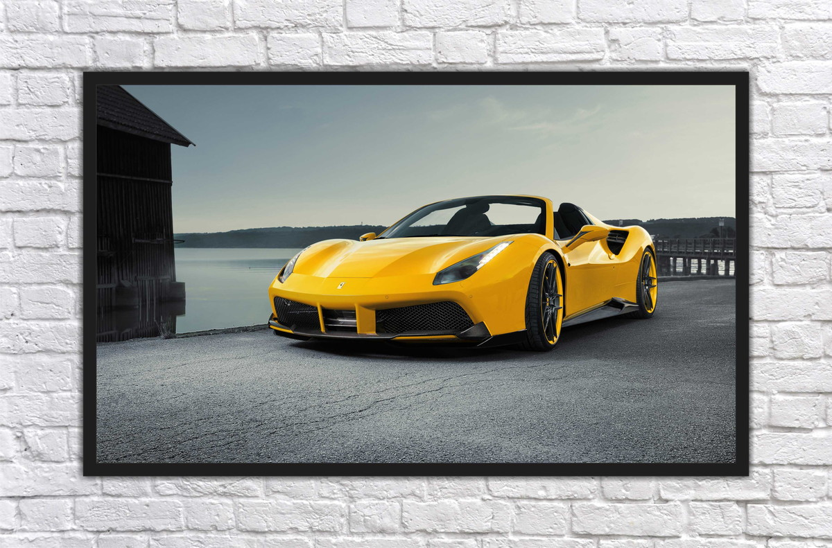 outlet store c3353 a1d85 Zoom · Quadro Decorativo Super Carros Ferrari Com Moldura 012