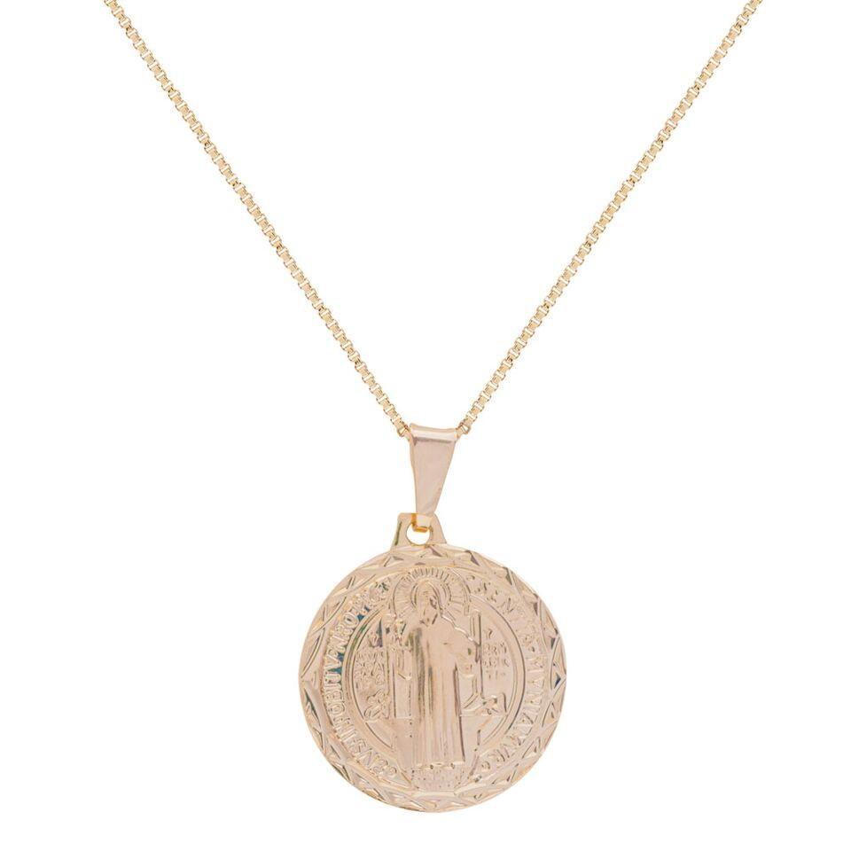 Colar Medalha de São Bento Semi Joia Folheada em Ouro 18k no Elo7 ... c9a1e6809e