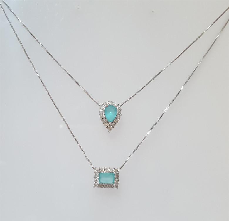 d0d72e384a4bc Colar Duplo Azul Tiffany no Elo7   Lezinne Semijoias (B78CFA)