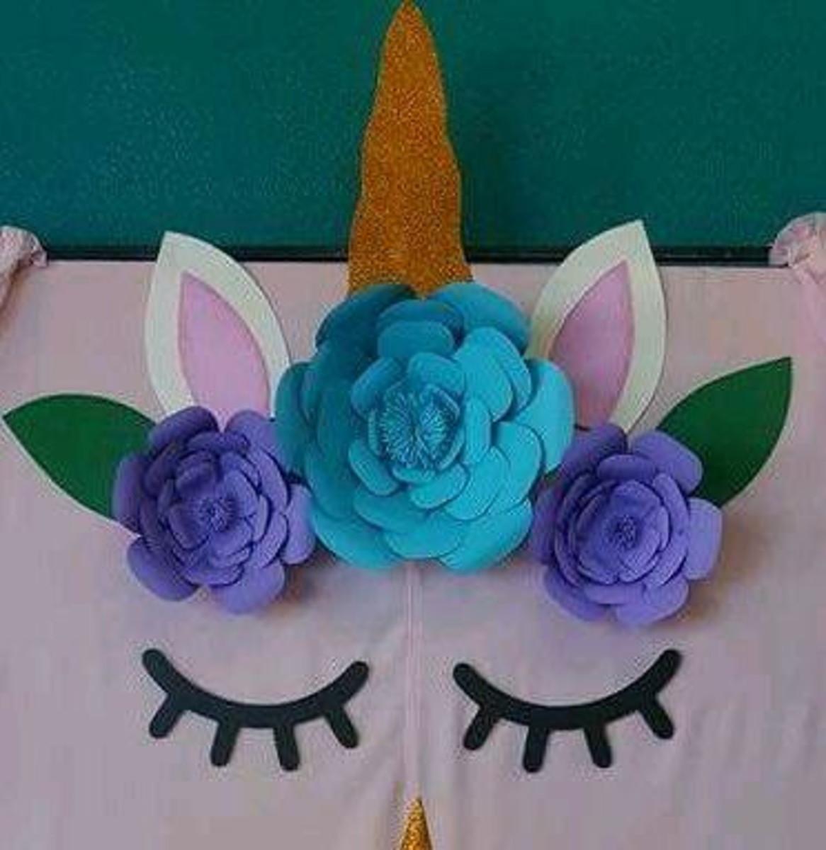 Painel Unicornio Com Flores De Papel No Elo7 Fran Art B7ef9f