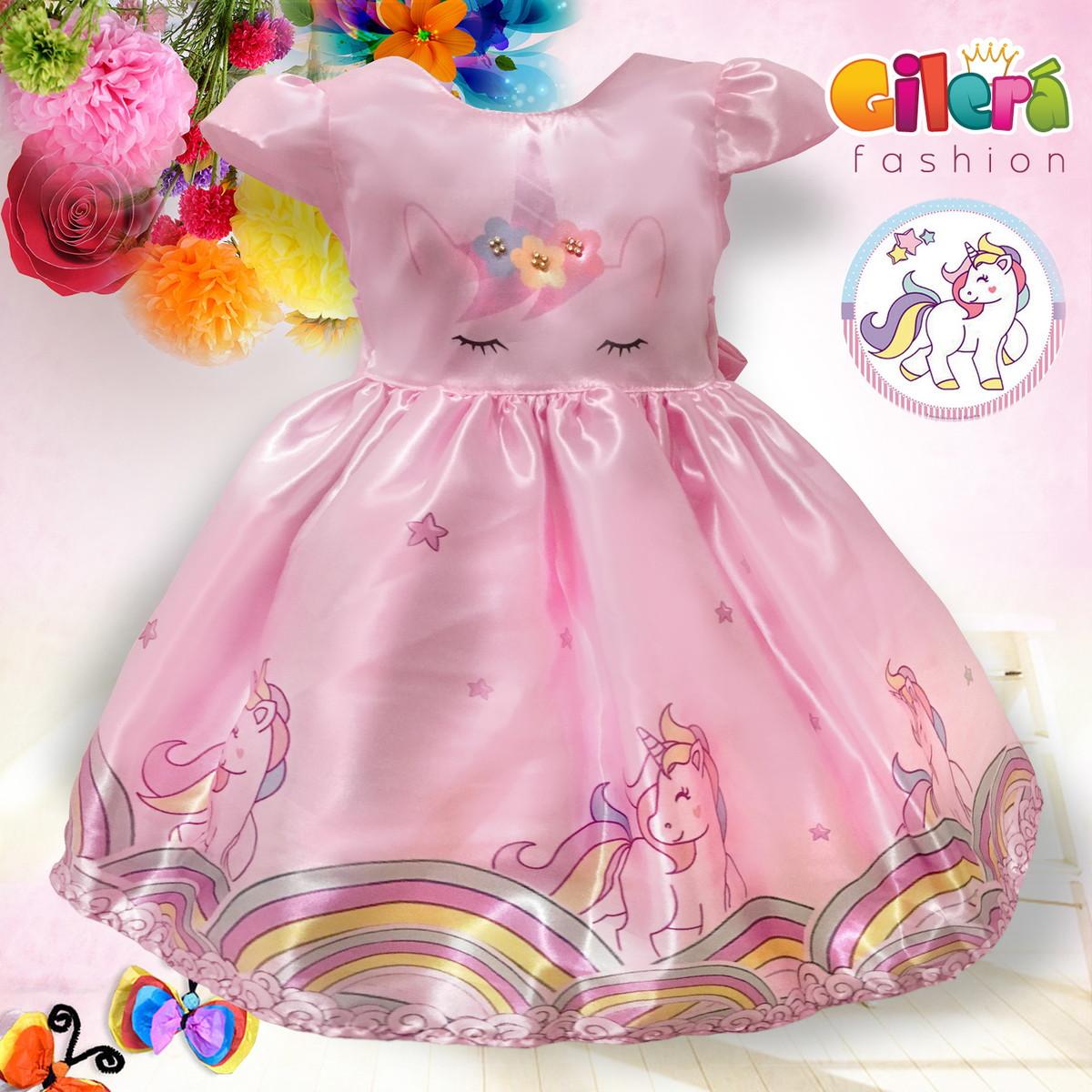 Vestido Infantil Unicórnio Rosa