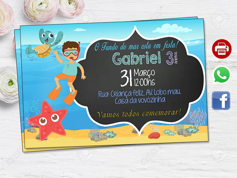 Convite Fundo Do Mar Digital No Elo7 Ideias Em Artes B82d60