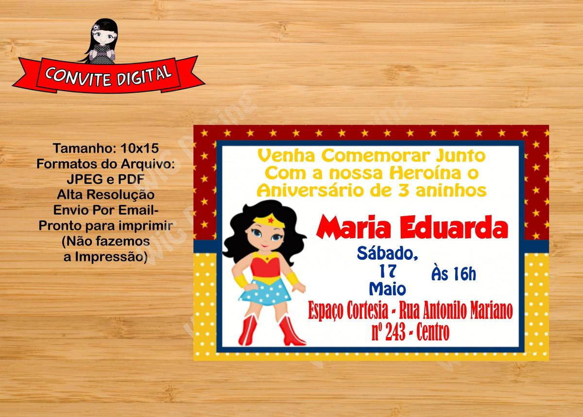 Convite Digital Mulher Maravilha Arte Digital Whatssap No Elo7