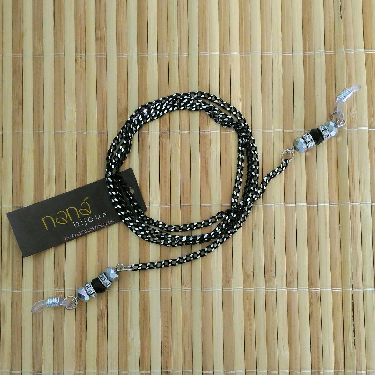 ba040b7591175 Cordinha Salva óculos com correntes e cristais - Preta prata no Elo7 ...