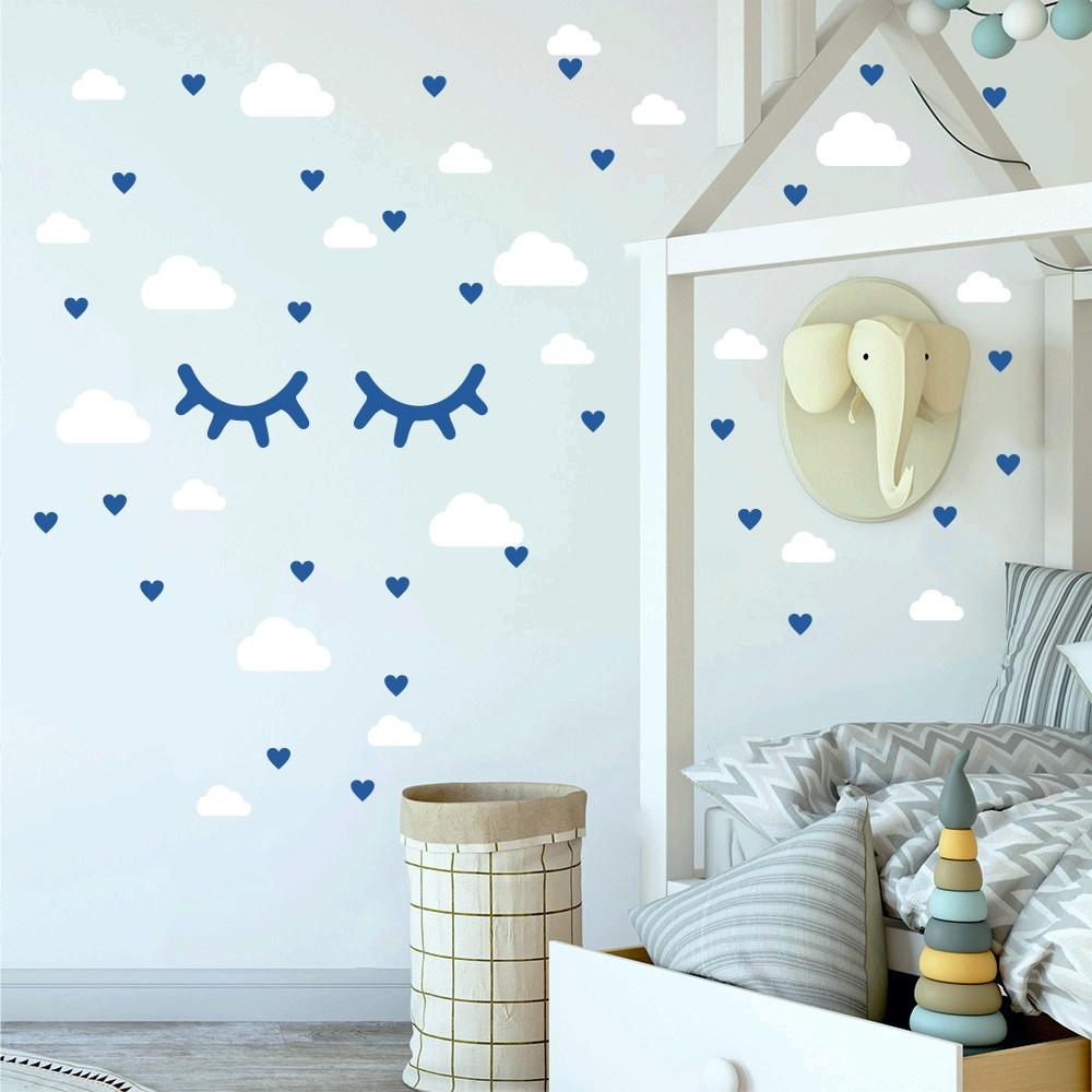 Adesivo Nuvens C Lios E Cora Es Branco E Azul Marinho No Elo7  -> Decoracao De Sala Azul Marinho
