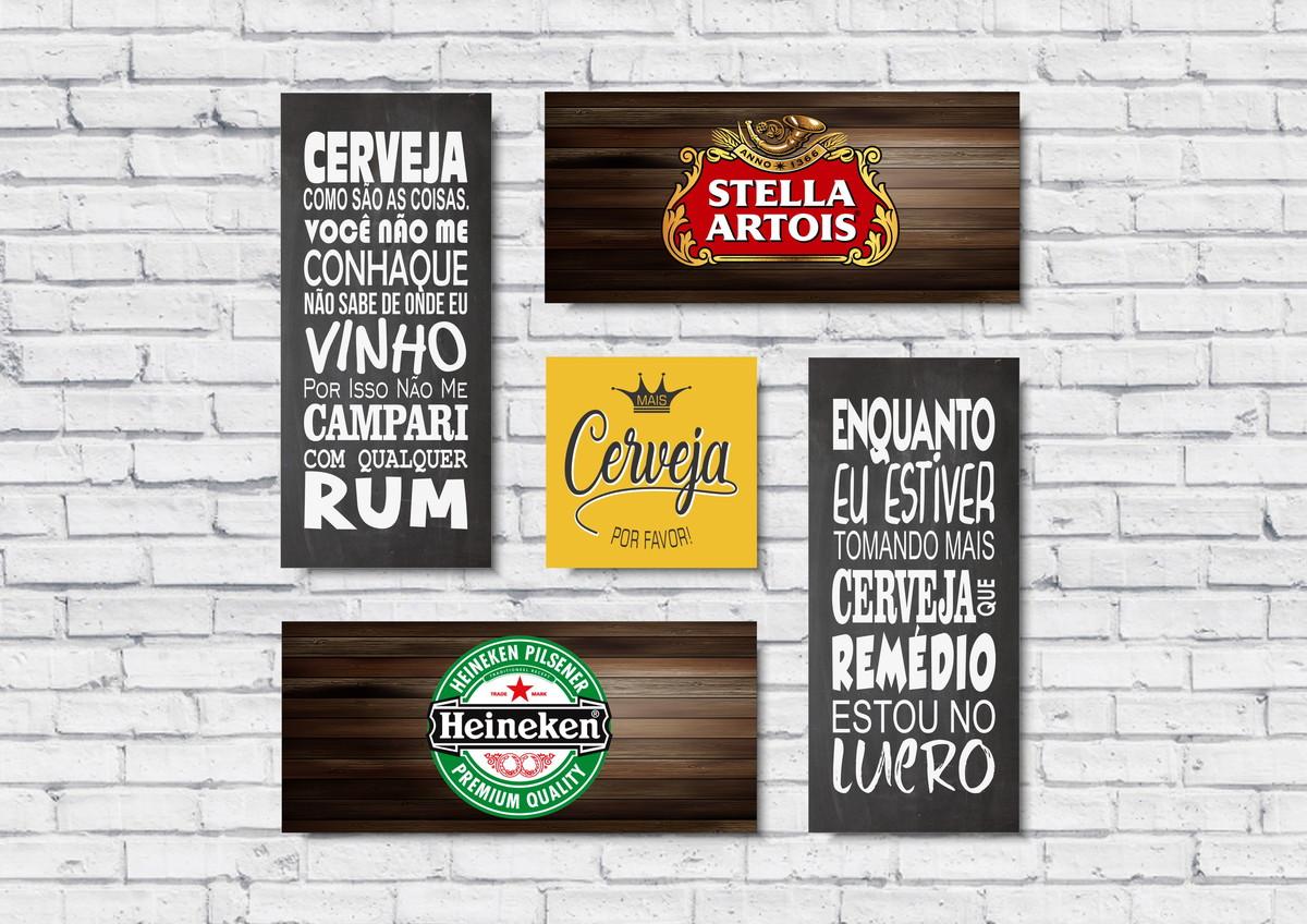 Quadro Cerveja Bar Churrasco Kit 5 Placas