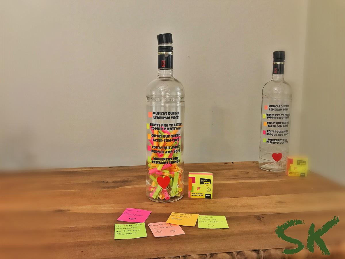 Garrafa Love Post It Presente De Namorados No Elo7 Sk Eco Store