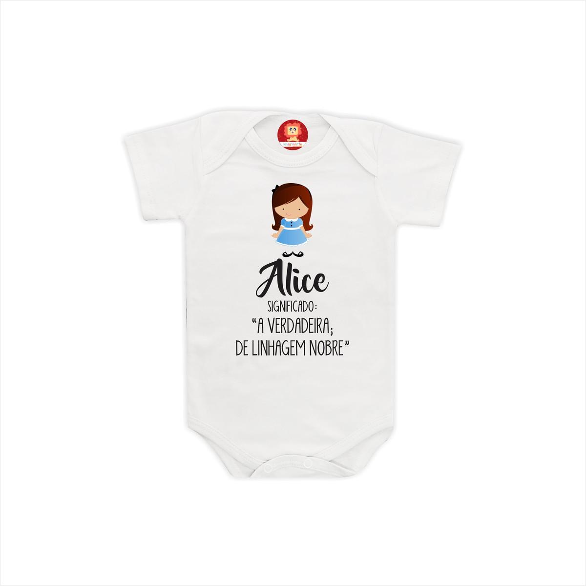 6eb222e20 Body ou Camiseta Personalizado Com Nome Alice no Elo7