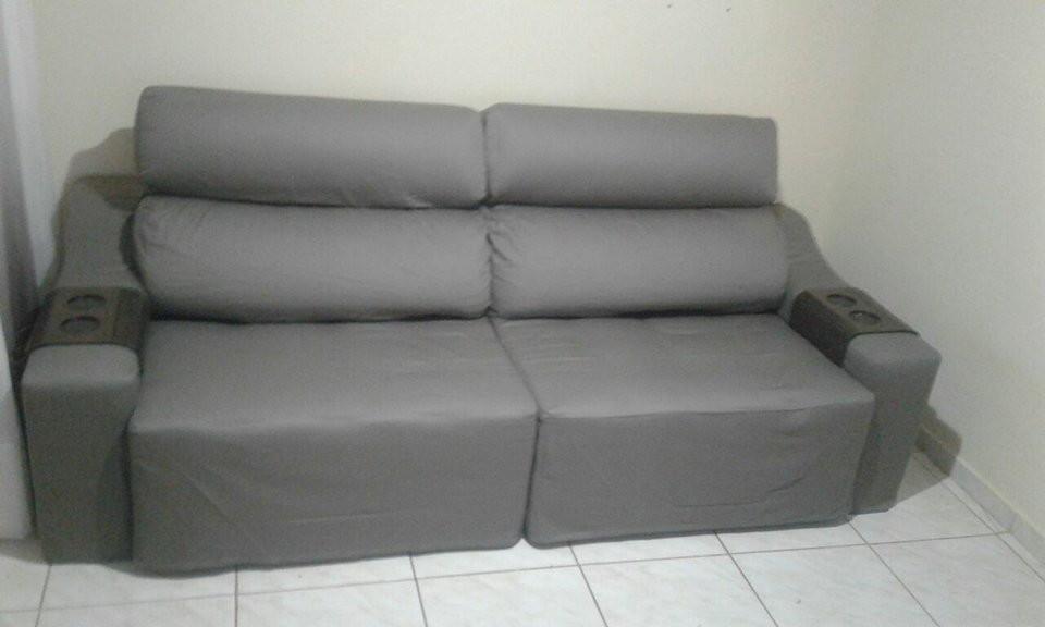 01 Capa para sofá retrátil em tecido brim peletizado no ...
