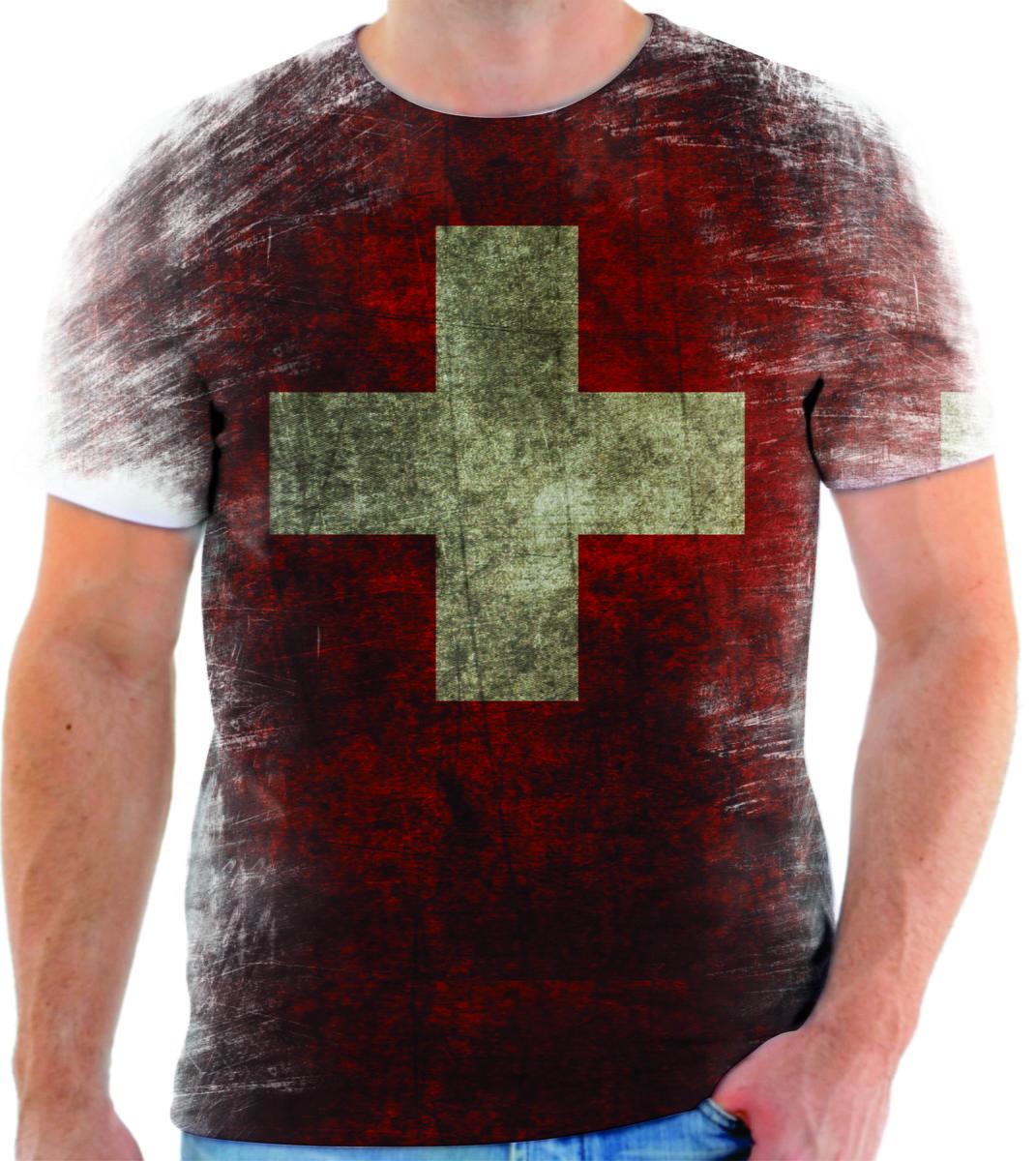 Camisa Camiseta Personalizada País Bandeira Da Suíça 1 no Elo7 ... f66744fd5ed5b
