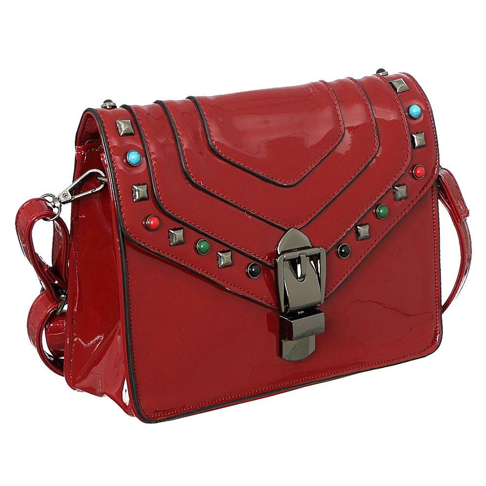 Bolsa Verniz VermelhaTransversal Com Pedrarias Coloridas no Elo7 ... bea50918ff2