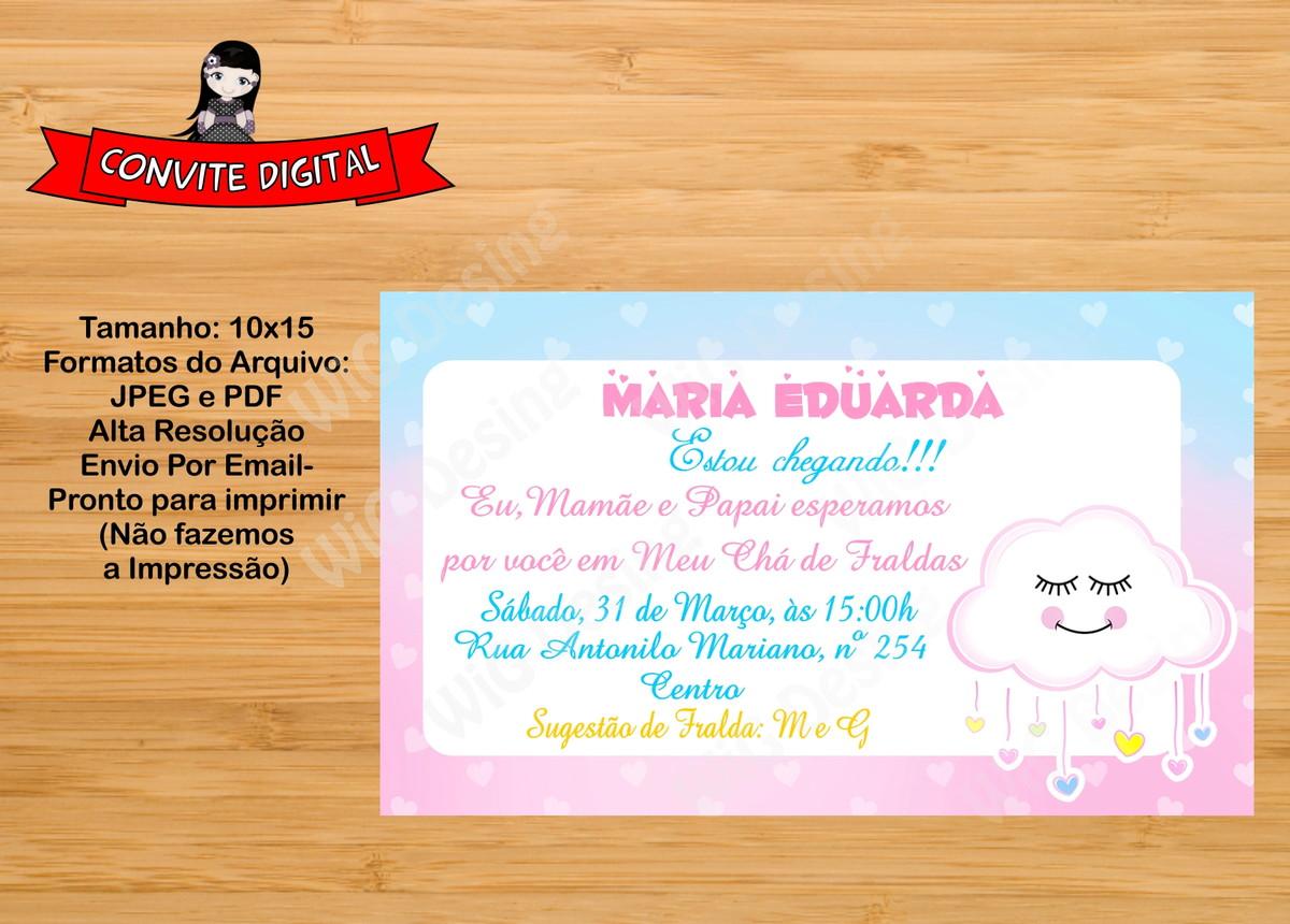 Convite Digital Chá De Fraldas Chuva De Amor Whatssap No Elo7