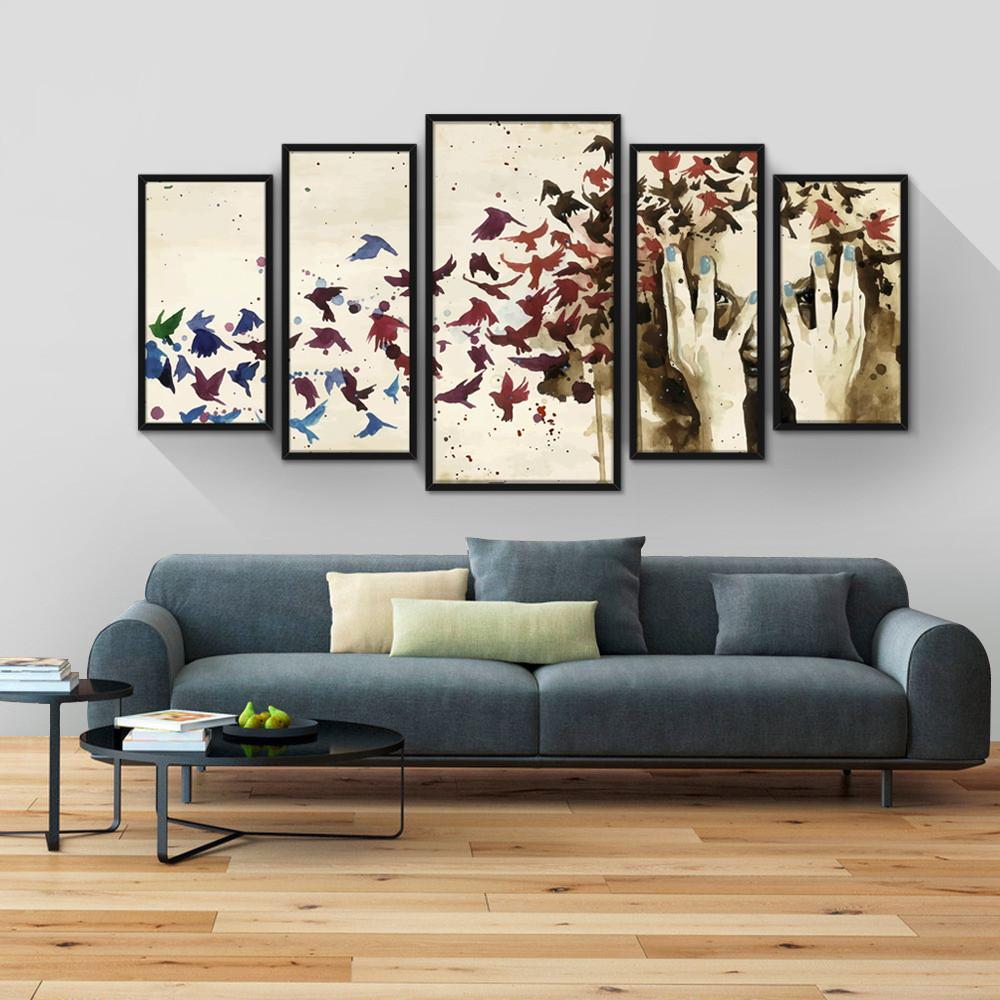 27908293d Quadro Decorativo Moldura Jogo Mosaico Sala Quarto Pássaros no Elo7 ...