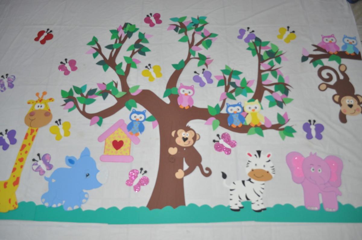 Mural para sala de aula EVA Animais 2 no Elo7 Ateli Vanessa