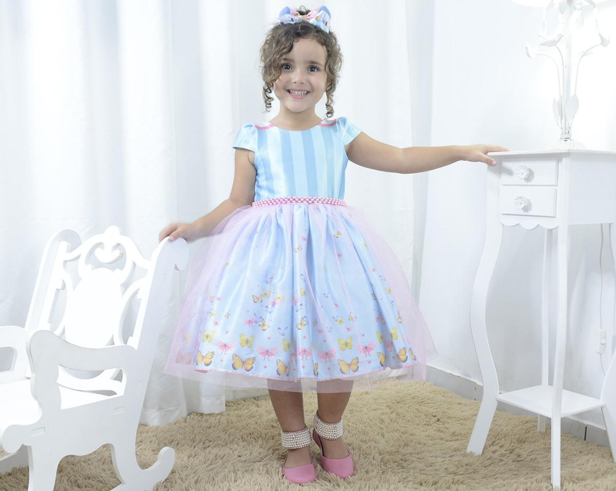 dc3024908 Vestido festa infantil borboletas e tule rosa sobre a saia no Elo7 ...