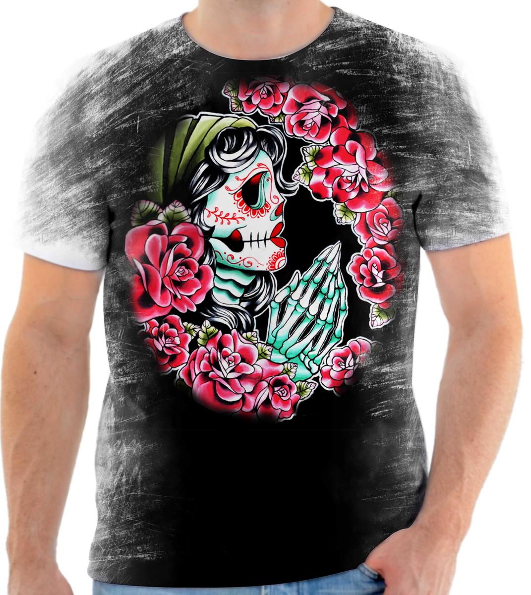 Camisa Camiseta Personalizada Caveira Mexicana 05 no Elo7  68190e5150d07