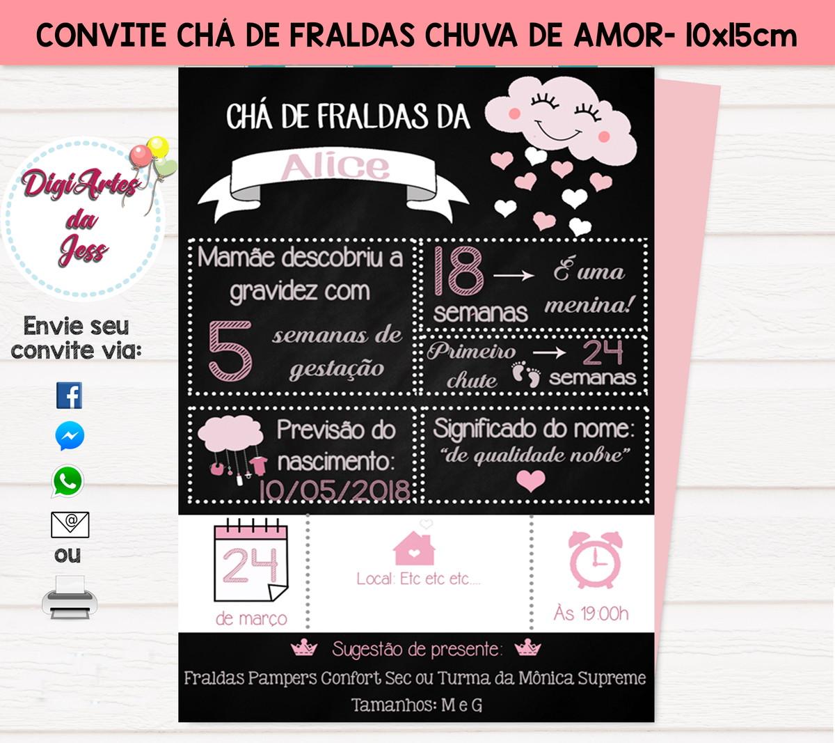 Convite Chuva De Amor Benção Chá De Fralda Digital No Elo7