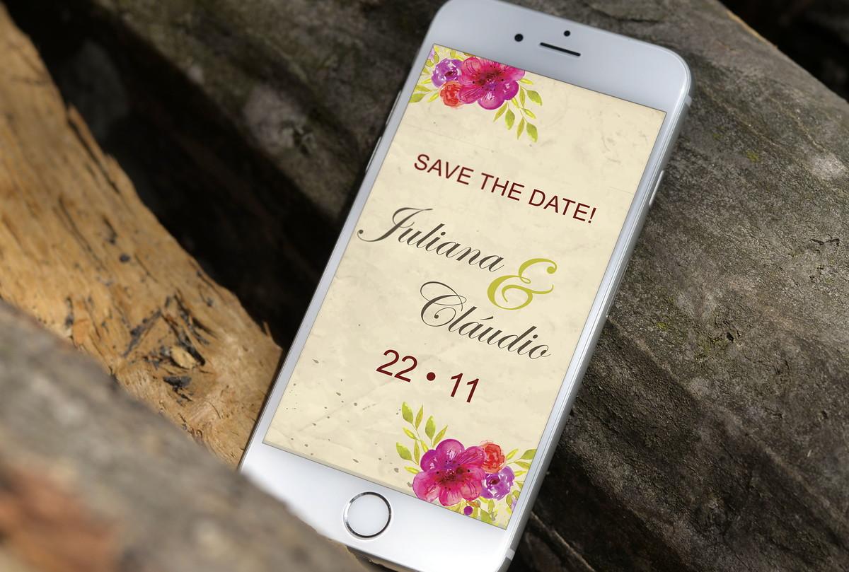 Save the Date Digital Whatsapp no Elo7   Cor de Flor (BA48A8)