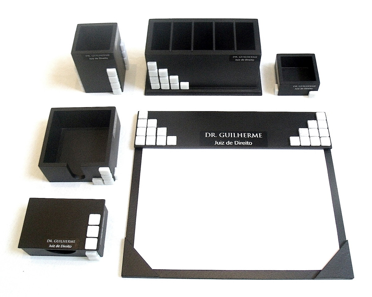 Organizador de mesa com 6 peças preto com pastilhas personal no Elo7 ... eee07866ae311