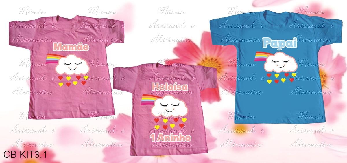 3cb476305 kit 3 Camisetas Chuva de benção no Elo7