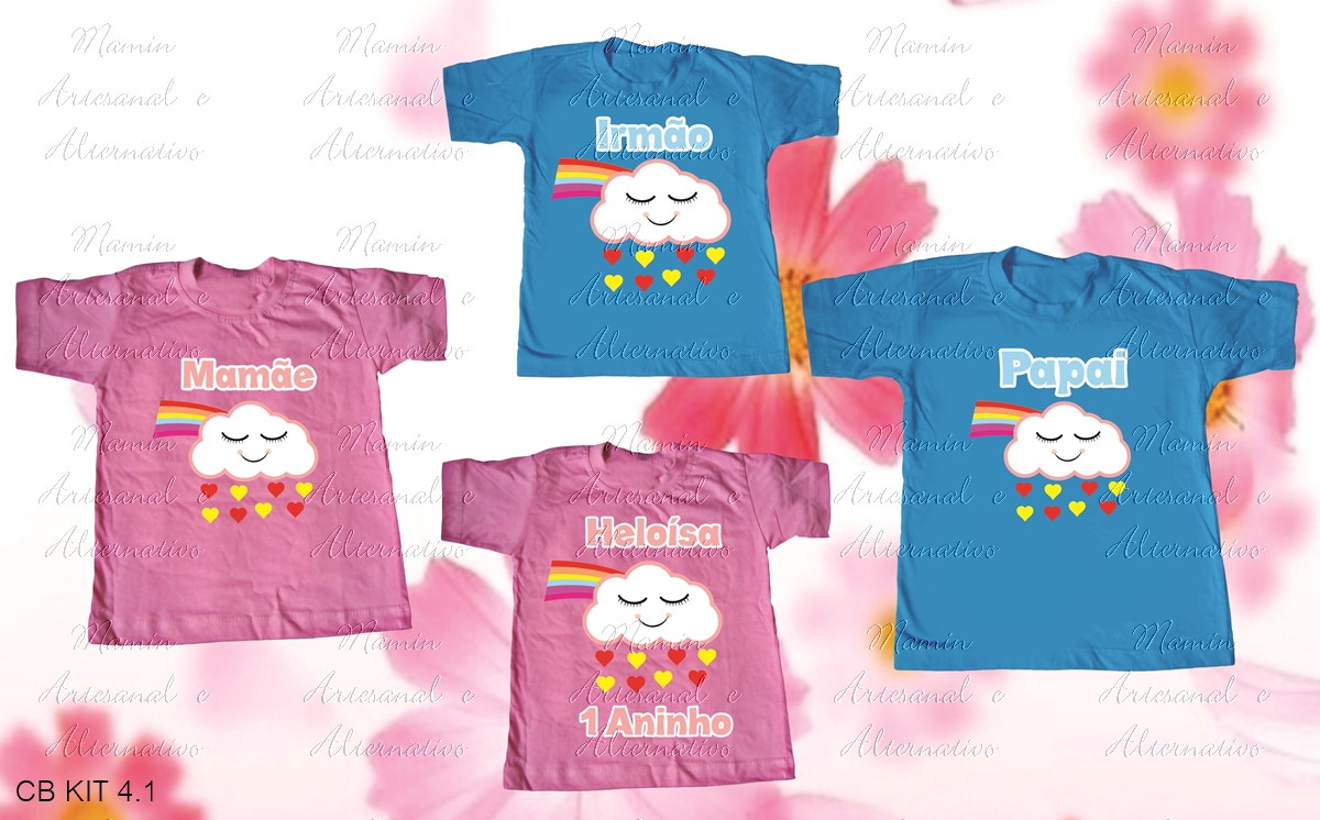 6cbff3809 kit 4 Camisetas Chuva de Amor e benção no Elo7