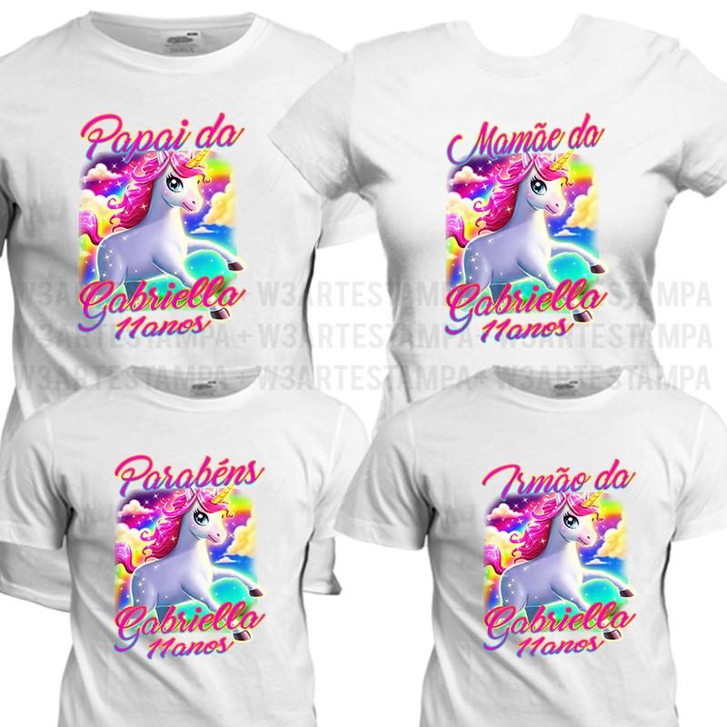 1acb99f63cd96 4 camisas Unicórnio Blusa Kit Aniversario Festa Infantil no Elo7 ...