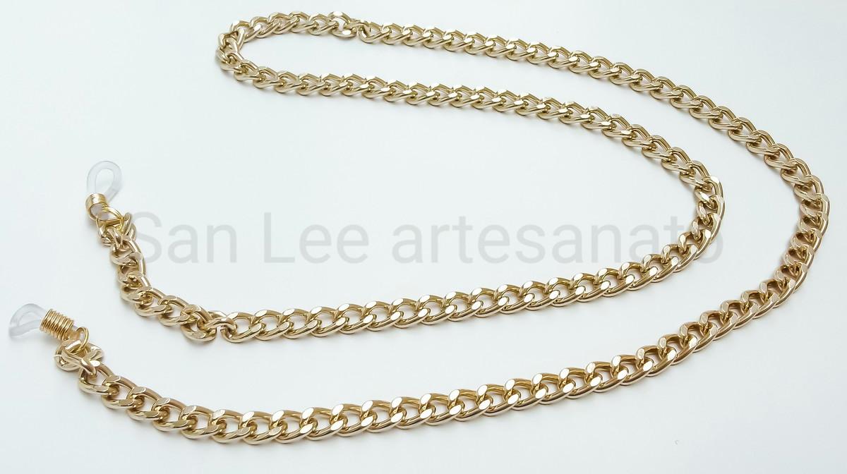 64ae60d4a24e segura óculos de corrente dourada elo grosso 7mm no Elo7 | San Lee ...