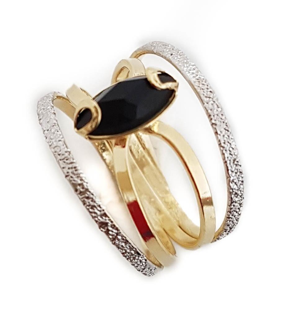 33a4a7da28037 Anel feminino Diamante negro zircônia Folheado A Ouro 18k no Elo7 ...
