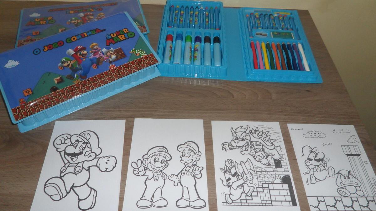 Kit Estojo De Pintura De 46 Pecas C 4 Desenhos Super Mario No Elo7