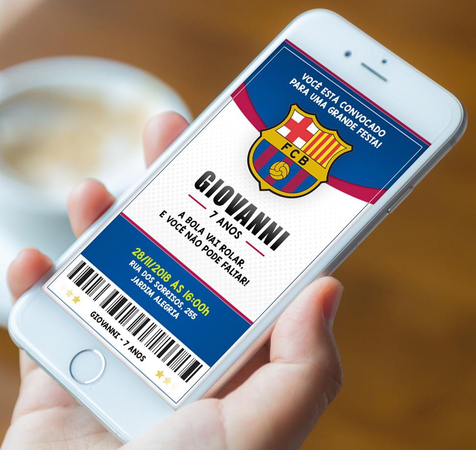 Convite Futebol Barcelona - Digital 01 no Elo7  520a2eab4d93a