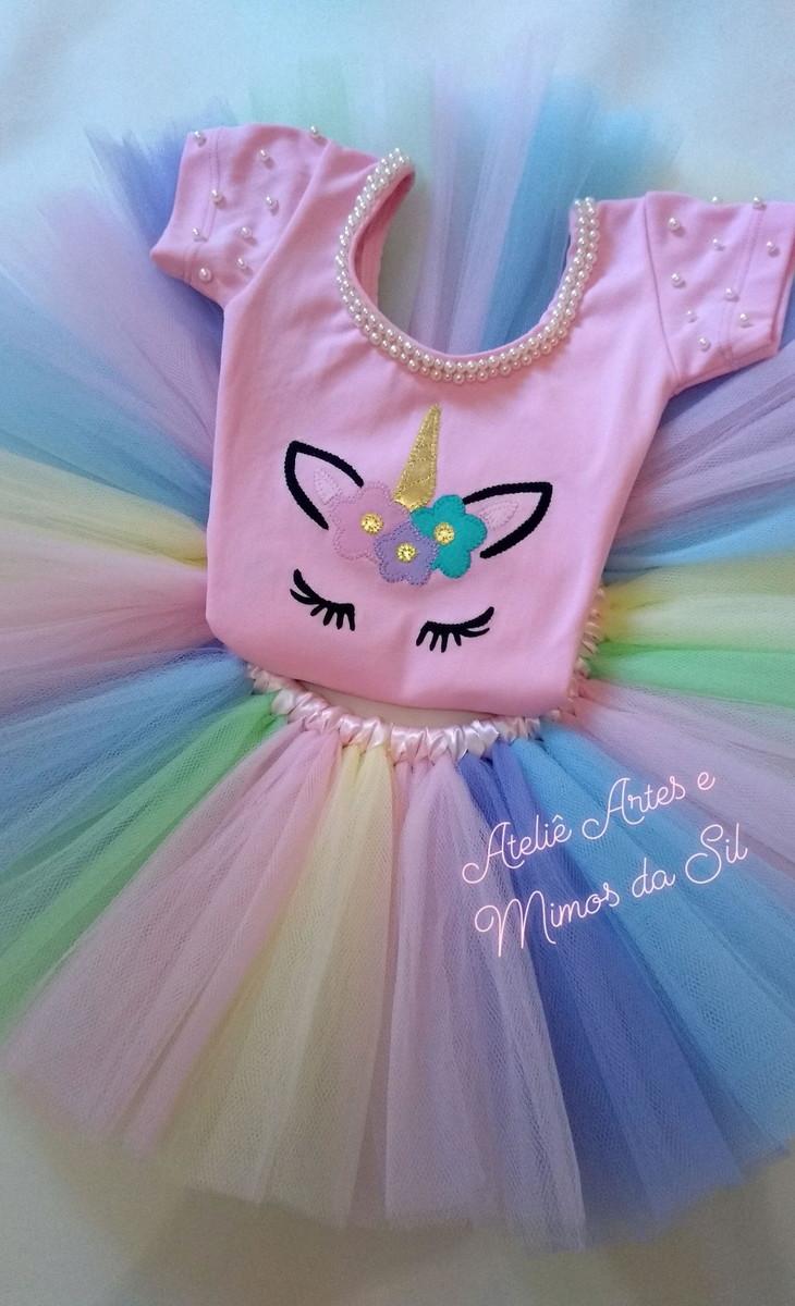 545bd1a3bf0b25 Fantasia Infantil Tutu Unicórnio Arco Íris Rosa 1-3 anos