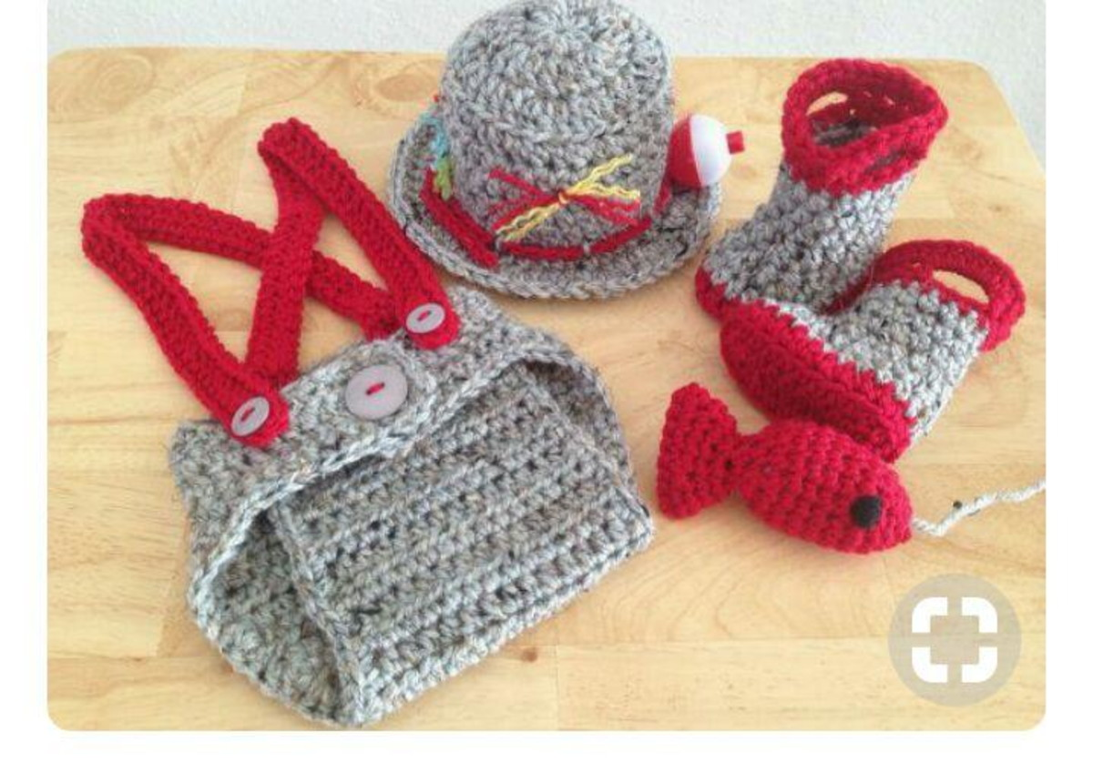 Conjunto pescador newborn croche no Elo7  08ab6211b68