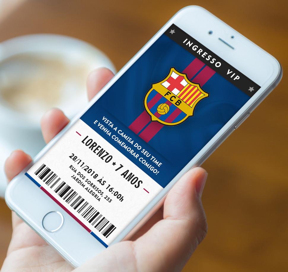 Convite Futebol Barcelona - Digital 02 no Elo7  a3de75e9f74b5