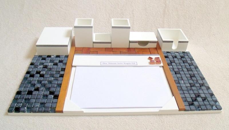Organizador de mesa com 7 peças branco em base fixa no Elo7  8148645544d94
