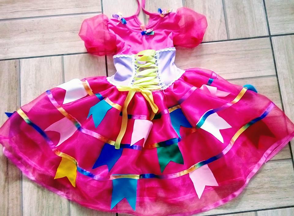 Vestido Caipira Bandeirinhas Rosa