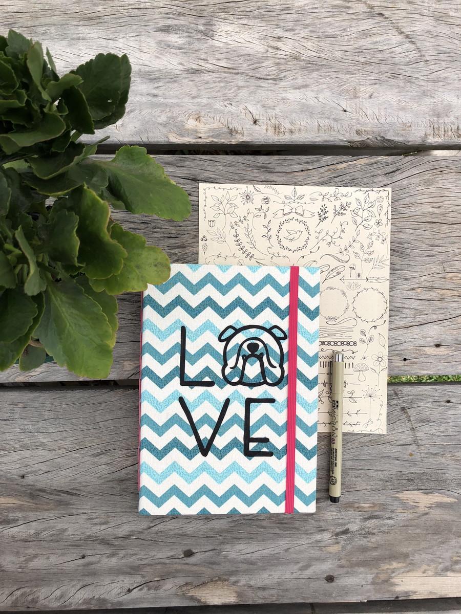 Bullet Journal Com Desenho Caderno Capa Dura A5 Em Tecido No